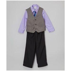 New PERRY ELLIS Lavender Plaid Four-Piece Vest Set